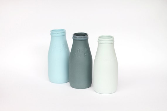porcelain replica vintage milk bottle mini - (slate colour)