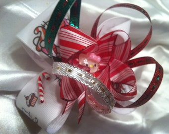 Hello Kitty Christmas  Stacked hair bow