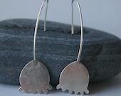 Silver poppy seed head dangle earrings
