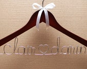 Wedding Hanger - Personalized Bridal hanger wire writing - rhinestone and white, silver or pink ribbon - optional