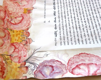 ketubah- Jerusalem peonies- watercolor on parchment paper-  no shipping fees