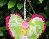Christmas tree decoration - decorated hot pink heart