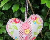 Christmas tree decoration - decorated pale pink heart