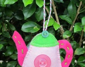 Christmas tree decoration - pale pink teapot