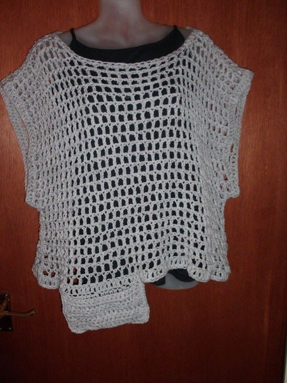 light grey crochet box top Plus size