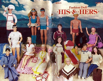 Fashion Doll His and Hers Vintage Crochet Pattern- fits Barbie and Ken -Annies Patterns Club 87D15