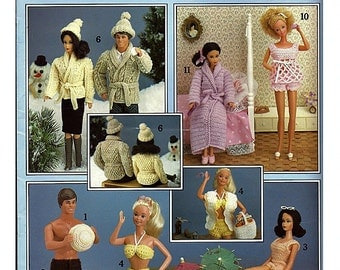Crocheted Barbie and Ken Fashion Doll Clothes Pattern Book 2   Leisrure Arts 437