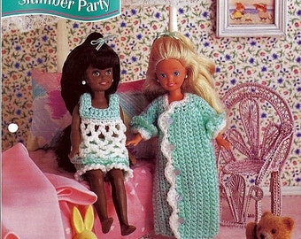 "Slumber Party PJ's for 7 1/2"" doll Crochet Pattern Annies Fashion Doll Crochet Club FCC07-02"