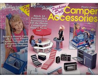 Fashion Doll Dream Camper and Fashion Doll Camper Accessories Two Plastic Canvas Books