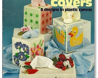 Tissue Box Covers Plastic Canvas Pattern American School of Needlework Book 3019 (S-19)