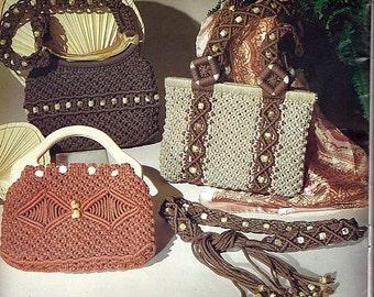 Purse Boutique Macrame and Crochet Pattern Book Plaid 7499