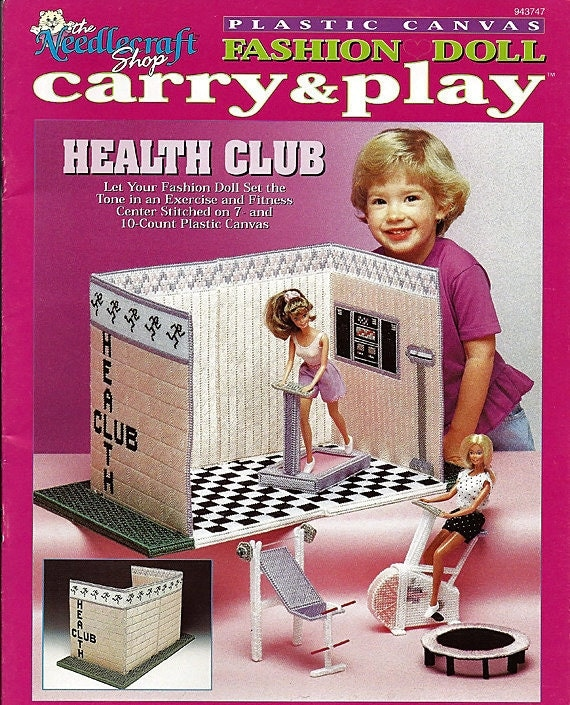 Fashion Doll Carry and Play Health Club Barbie Plastic Canvas Pattern The Needlecraft Shop 943747