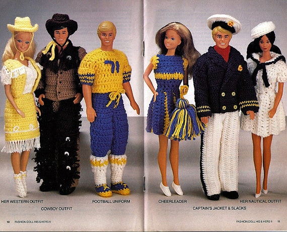 Fashion Doll His and Hers II - fits Barbie and Ken - Crochet Pattern Book  Annies Attic 87D32