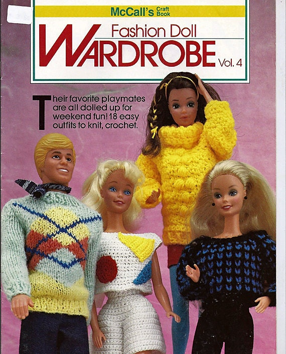 Fashion Doll Wardrobe Vol 4 Barbie and Ken Knit and Crochet Doll Clothes Patterns McCall's