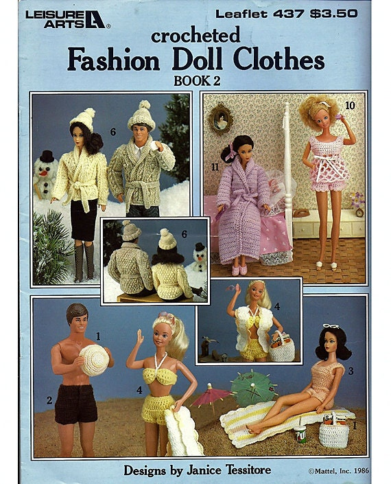 Crocheted Barbie and Ken Fashion Doll Clothes Pattern Book 2