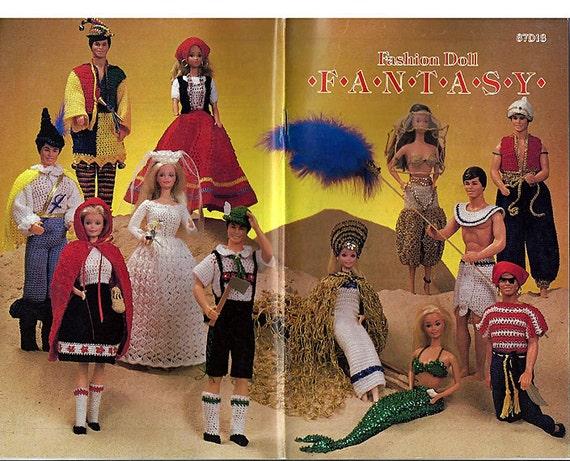 Fashion Doll Fantasy  Vintage Crochet Pattern- fits Barbie and Ken - Annies Pattern Club 87D18