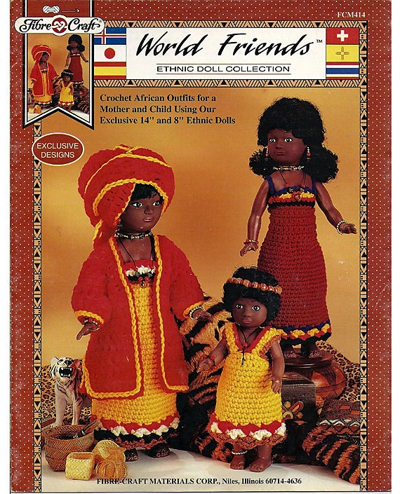 Crocheted African doll Outfits World Friends Ethnic Doll Pattern Fibre Craft  FCM414