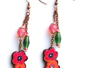 Earring polymer clay flower japan blossom spring tangerine chocolate hot pink copper lovely cute romantic