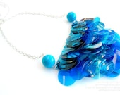 Recycle plastic bottle necklace statement blue whimsical lightness elegance