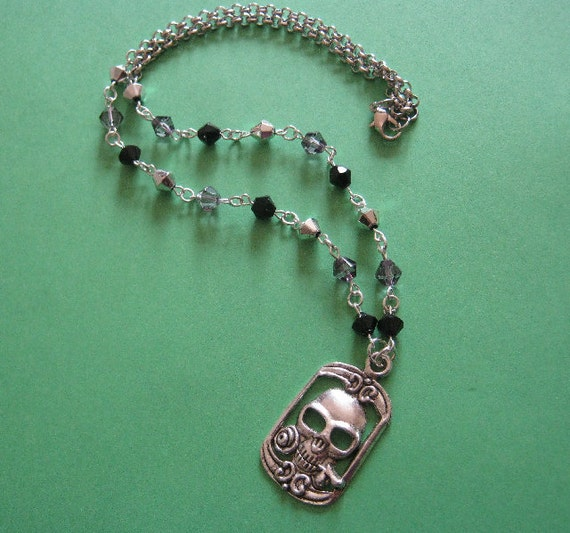One Dark Night Tibetan Silver Skull Motif and Glass Bead Necklace Set
