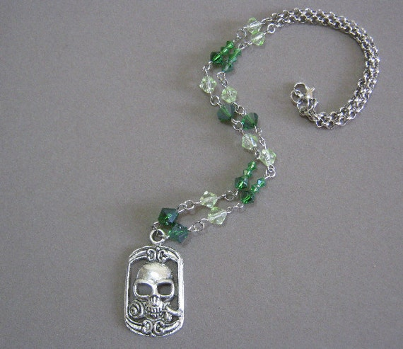 Zombie Spring Necklace Glass and Tibetan Silver Set