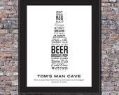 BIGGER Man Cave Beer Lover Custom 11 x 14 Canvas