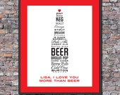 I Love You More Than Beer Custom 8 x 10 Valentine Canvas