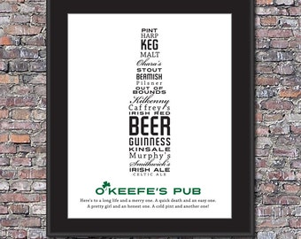 Irish Pub Beer Lover Custom 8 x 10 Canvas