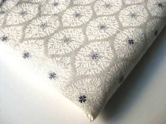Custom listing for Michael: White grey Indian silk brocade