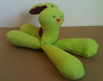 Floppyfeet Bunny Doll, bright green/stitched face
