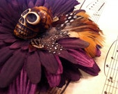 Sneak Peak... Unique Flower and Feather Skull Hair Clip