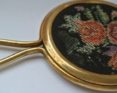 Vintage pocket hand mirror made of gold tone metal and flower tapestry 30s 40s