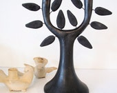 RESERVED Mid Century Black Pottery Tree Sculpture, Candle Holder