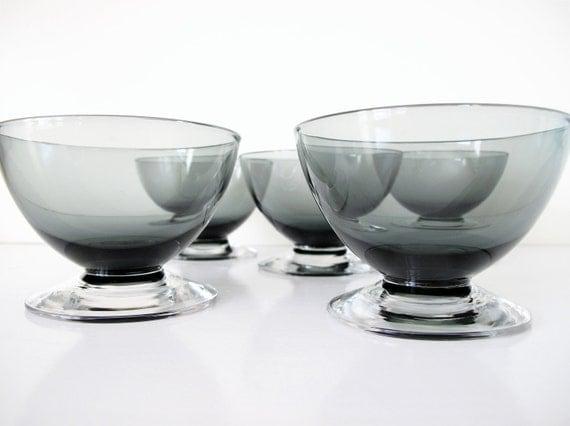 Mid Century Modern Smoky Glass Sherbets, Dessert Dishes