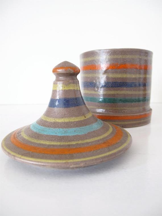 Vintage Raymor Art Pottery Jar with Lid