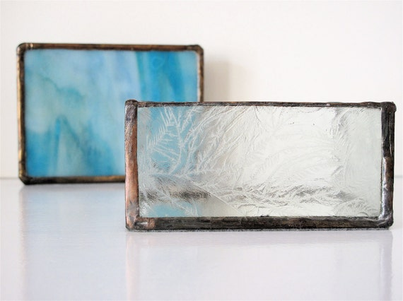 Beautiful Vintage Stained & Etched Glass Box SALE