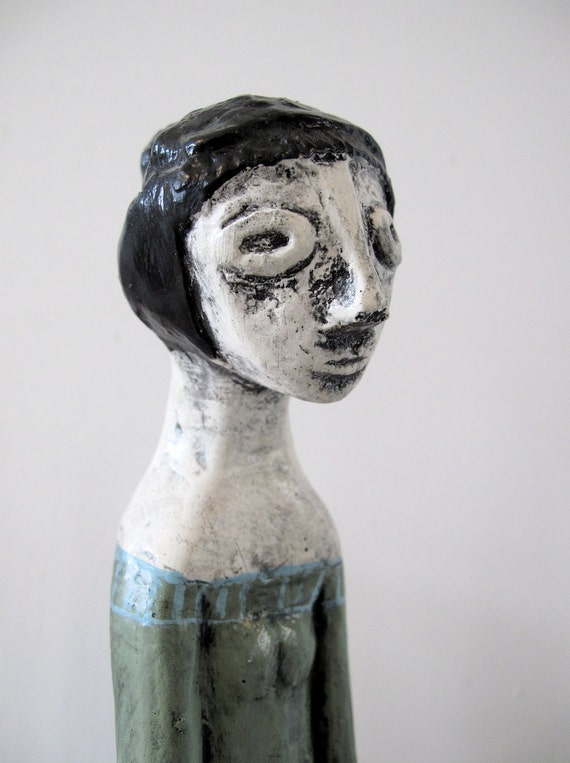 RESERVED: Vintage Modern Pottery Figure, Woman