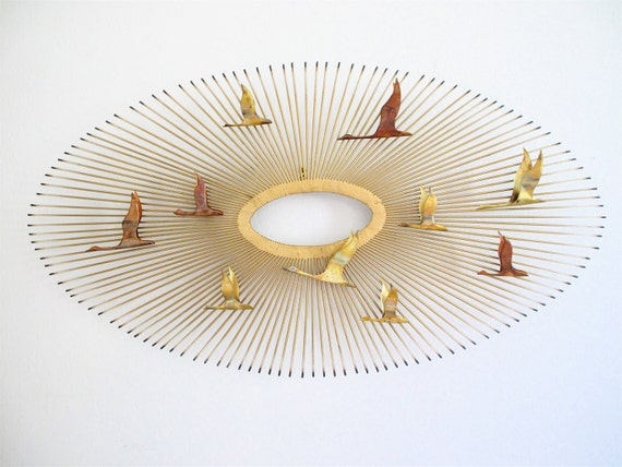 Large C Jere Era Brutalist Sunburst Wall Sculpture