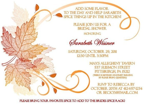 Fall Themed Bridal Shower Invitation by OnceUponADezign on ...