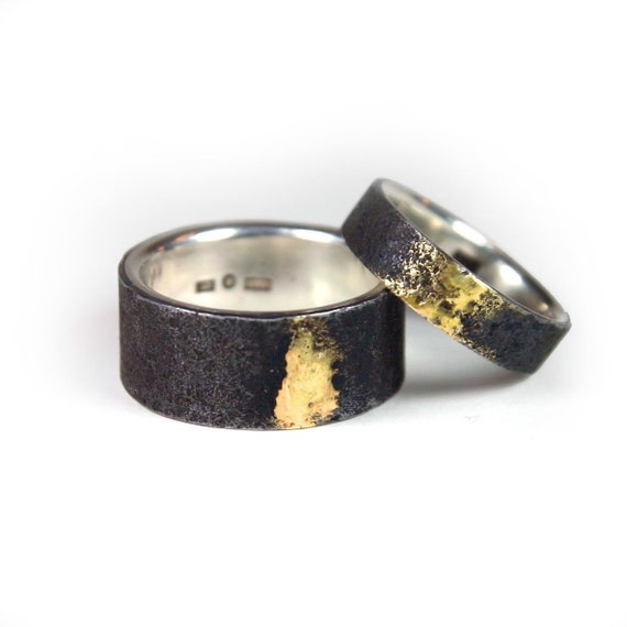 iron and silver wedding ring with golden soldering With iron wedding ring