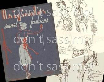 1940s Digital Download Vintage ORIGINATOR Fashion Sketchbook Catalog - 31 Pages Printable PDF