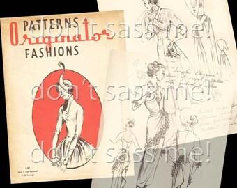 1940s Digital Download Vintage ORIGINATOR Pattern Catalog Fashion Sketchbook Sewing - 41 Pages Printable PDF