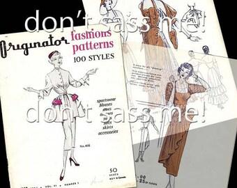 1950s Digital Download Vintage ORIGINATOR Fashion Sketchbook Catalog - 64 Pages Printable PDF