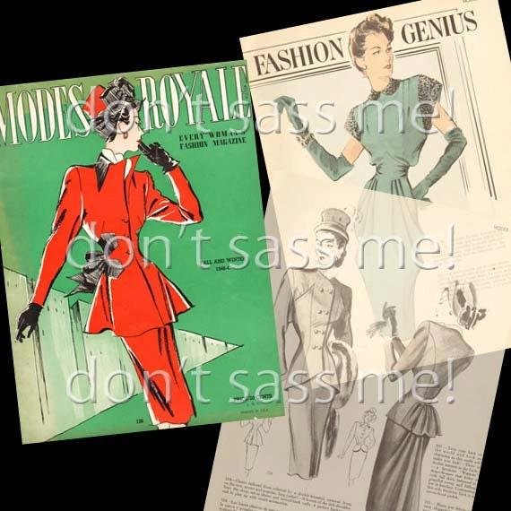 1940s Digital Download Vintage MODES ROYALE Pattern Catalog - 27 Pages Printable Pdf