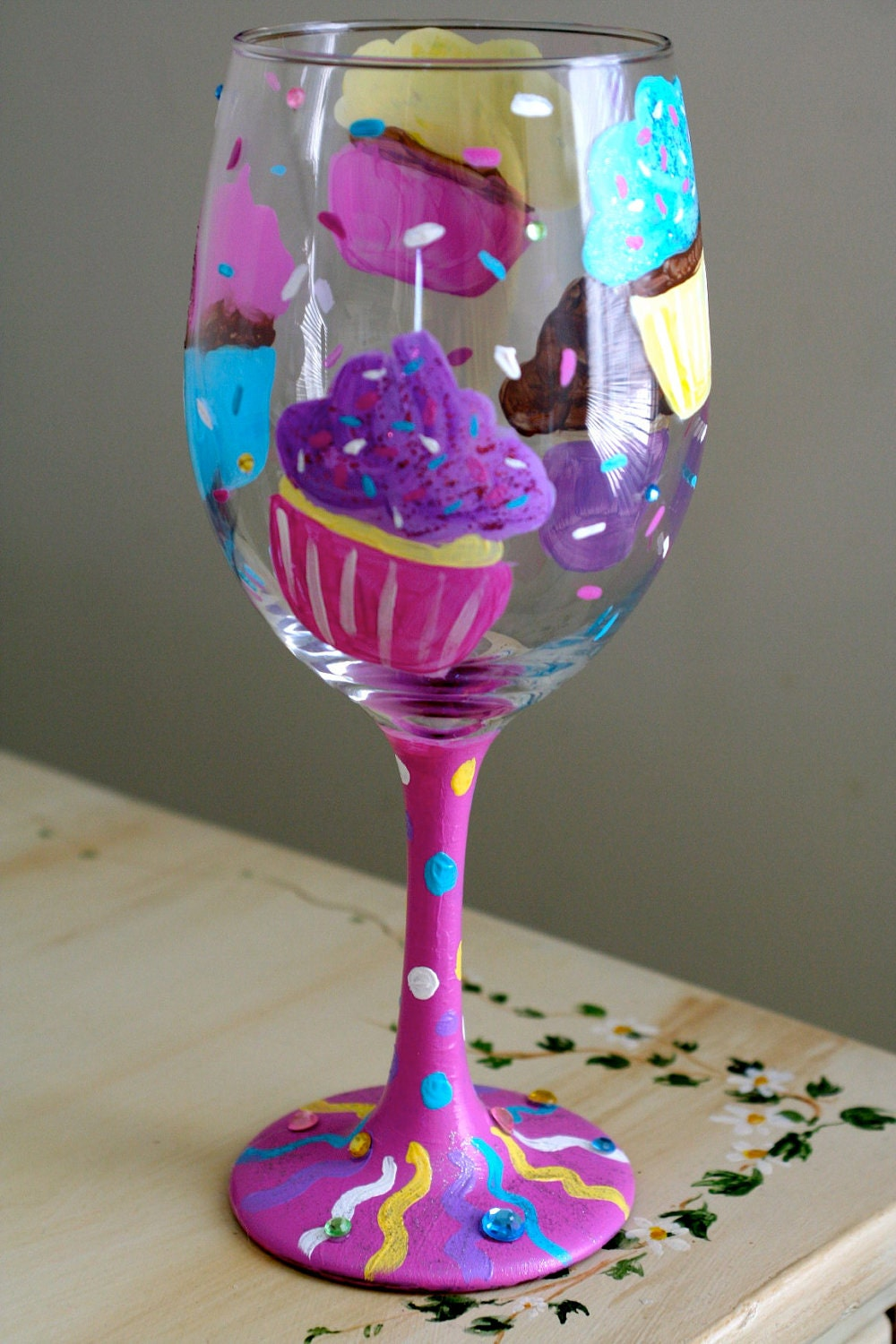 Hand painted cupcake wine glass Images of painted wine glasses