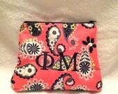 Phi Mu Monogrammed Makeup Bag