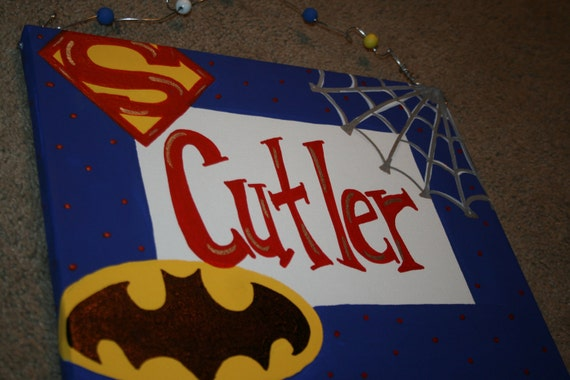 SUPER HERO Canvas Name Sign