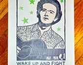 """Woody Guthrie """"Wake Up And Fight"""" Linoleum Cut Print"""