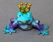 "ADORABLE BRONZE FROG ""Frog Prince"" Sculpture Figurine Metal Amphibian Art / Limited Edition Signed & Numbered"