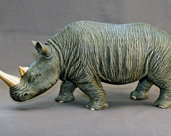 "Bronze RHINOCEROS ""White Rhinoceros"" Rhino Figurine Statue Sculpture Art / Limited Edition Signed & Numbered / AWESOME DETAILED"